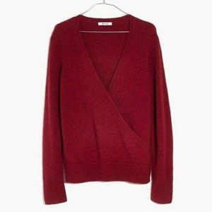Madewell faux wrap pullover top v neck sweater